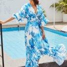 V Neck Blue Vacation Women\'s Maxi Dress