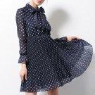 Tie Neck Polka Dots Women\'s Day Dress
