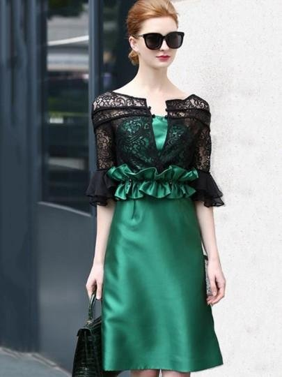 Double-Layered Falbala Women\'s Day Dress