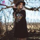 Boho Dress Women Autumn Long Sleeve Off The Shoulder Sexy Dress Sweet Flower Embroidery Mini Dress F