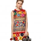 Fashion Designer Dress Women\'s High Quality Fuzzy Ball Luxury Diamonds Beading Baroque Printed Embo