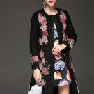 High Quality Women Winter Coat Warm Long Sleeve Flowers Floral Embroidery Long Lace Coats Fashion Ou