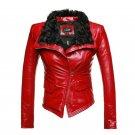 New Luxury Autumen Winter Women Genuine Fur Leather Jackets Lady Sheepskin Motorcycle Red Black Coat
