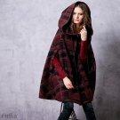 Autumn Women\'s Hooded Coat 2017 Winter Poncho Coat Long Red Coat Female Plaid Coat Cape Woolen Cloa
