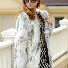 Genuine Rabbit Fur Coat Md-long Women Natural Sliced Jacket 2016 New Winter Outerwear Apparel Clothi