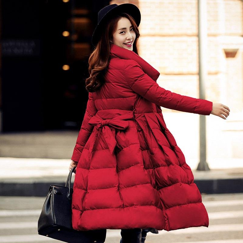 new Spring winter 90% white duck extra long down jacket women big size A-line mujer coat female oute