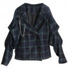 Plaid Woolen Coat Women Autumn Winter Ruffles Long Sleeve Tops Metal Chain Loose Werm Coats Female C
