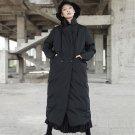 Long Cotton Coat For Women Winter Black Thick Warm Turtleneck Women\'s Windbreaker Split Hem Big Siz