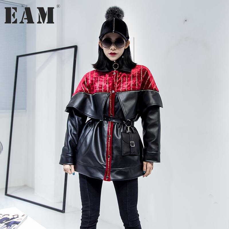 [EAM] 2017 Autumn Winter New Pattern Fashion Coat Loose Handsome Pleuche Stitching PU Tide Jacket Wo