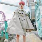 New Autumn Winter Fashion Irregular Big Pendulum Cloak Belt Decoration Windbreaker Loose Coat Women