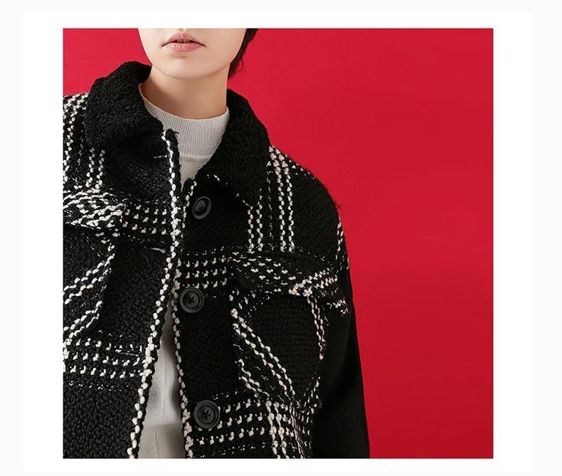 Woollen Coat Winter Women Loose Plaid Striped Contrast Color Thicken Woolen Jacket Overcoat