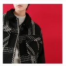 Woollen Coat Winter Women Loose Plaid Striped Contrast Color Thicken Woolen Jacket Overcoat