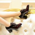 new spring autumn fashion trend dress style patent leather wearproof women shoes thick heels skid re