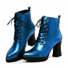 Square heels shoes 8.5cm ankle boots for women platform boots in spring autumn genuine leather boots