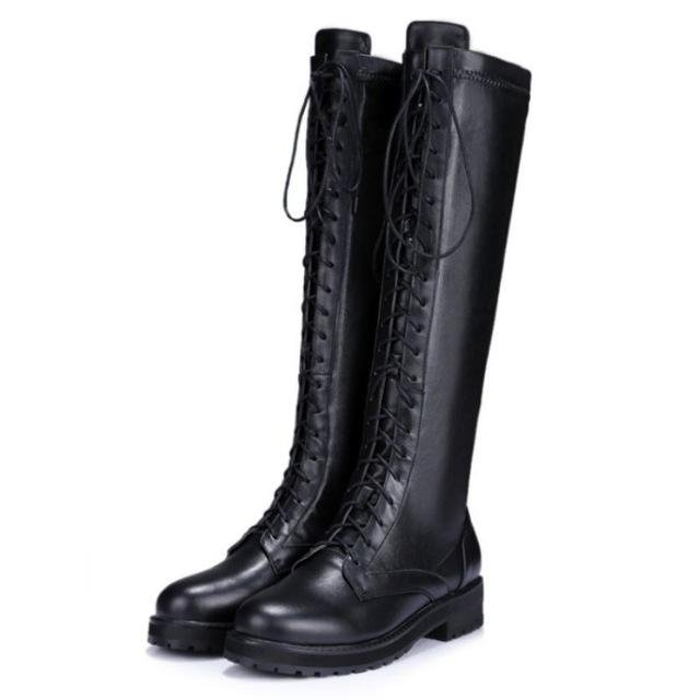 New Fashion Women Real Genuine Leather Knee Boots Woman Flat Martin Boot Female Round Toe Lace Up Sh
