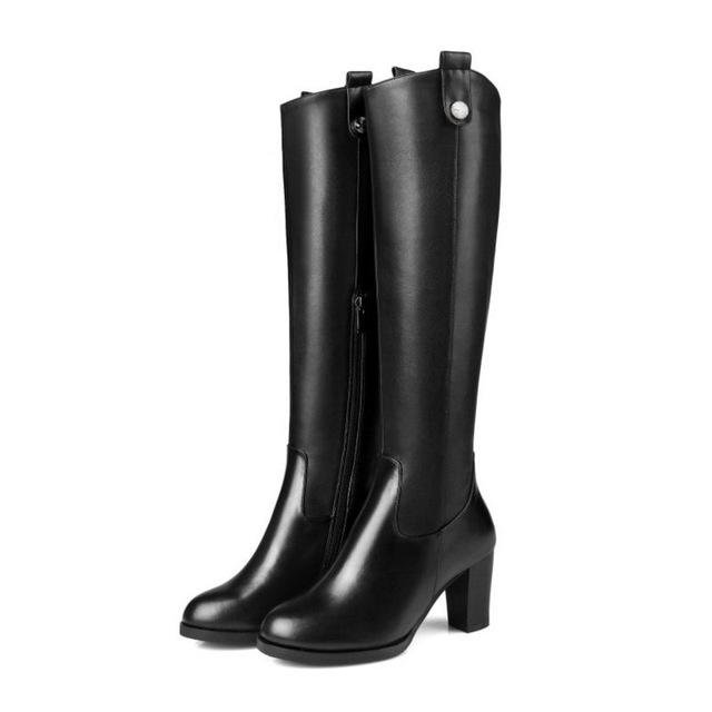 Women Natural Real Leather Knee Boots Winter Snow Boots Sexy Square Heel Fashion Zipper Women Riding