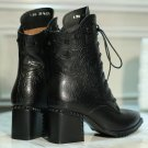 Women Pumps Spring Ladies Shoes Square High Heel Genuine Leather Lace Up  Black Woman Casual Shoes S