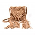 Bohemian Tassel Shoulder Bags Boho fabric Crochet Cotton Fringed Bolsa Femininas Women Handbag Brown