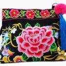 Vintage Hmong Tribal Ethnic Thai Indian Boho shoulder bag message bag linen handmade embroidery Tape