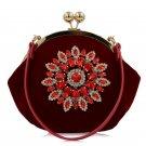 Red Luxury Brand Women Diamond Evening Bag Velvet Rhinestones Day Clutch for Wedding Bridal Party Wa
