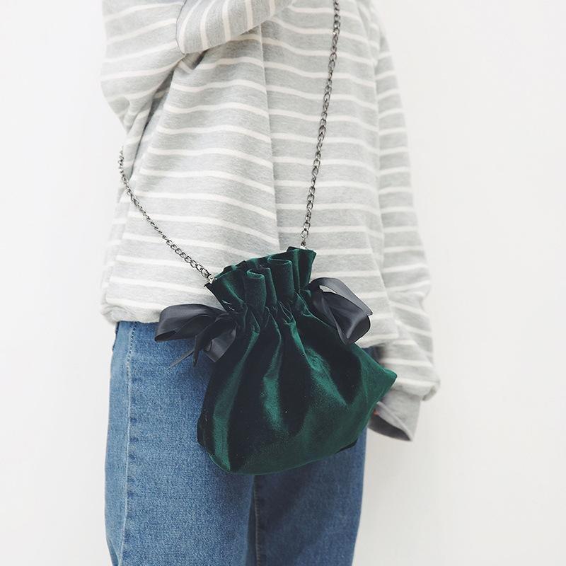 BEWITU Women Velvet Bucket Bags Simple Design Crossbody Bags For Women Sling Drawstring Shoulder Bag