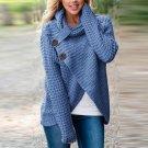 Stylish Knitwear Blusas Long Sleeve Turtle Neck Buttons Asymmetric Split Sweater Women Winter Autumn