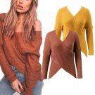V neck cross knitting winter sweater women Fashion down sleeve pullover female New 2017   autumn win