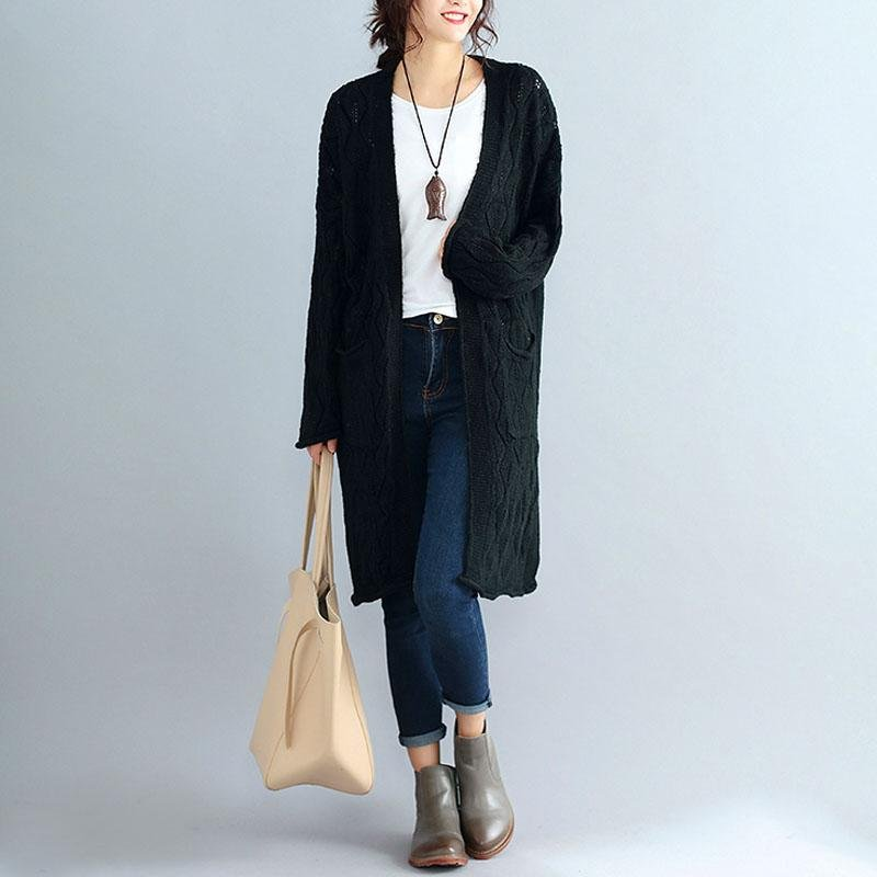 Autumn Women Waterfall Long Sleeve Pockets Casual Knitted Long Cardigan Party Solid Sweater Outerwea