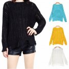 2017 new knit sweater sweater ladies black hole hollow lined loose large size sexy