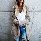 Autumn Winter Women Open Front Asymmetrical Hem Knitted Sweater Coat Long Sleeve Warm Long Cardigan