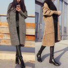 Women Spring Autumn Long Sleeve Solid Color Cardigan Loose Knit Sweater Coat