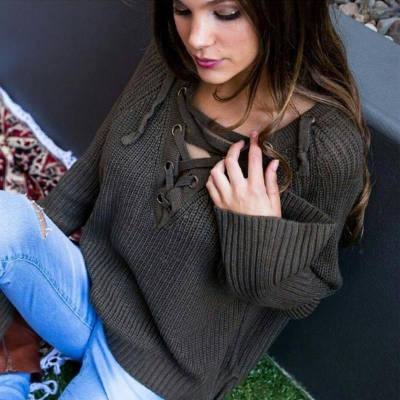 Fashion Women Knitted Sweater Sexy V-Neck Long Sleeve Lace Up Pullover Women sexy Tops plus size  LJ