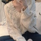 2016 autumn and winter casual loose knit women V-neck long-sleeved pullover sweater female