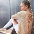 Women Autumn Casual Backless Hollow Out Pullovers Fashion Brief Sexy Knitted Long Sleeve Sweater Reb