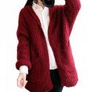 IMC Women Knitted Sweater Batwing Sleeve Outwear Wine Red One Size -Wine Red Coffee Beige