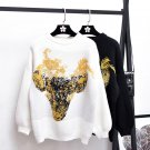 Deturbg Cute Cow Head Pattern Knitted Pullover Casual Long Sleeve Cashmere White Black Sweaters For