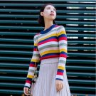Colorful rainbow striped basic sexy pullover sweater