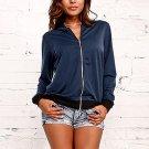 2017 Autumn New Fashion Women Long Sleeve Zipper Baseball Jackets Casual Slim Fit Basic Solid Biker