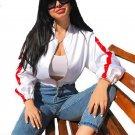 White Motorcycle Jacket Women 2017 Crop Top Sexy Loose Red Striped Jacket Coat Streetwear Short Bomb