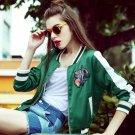 Chic women Bomber Flowers embroidery baseball jacket loose Satin short coat High waist Zipper stripe