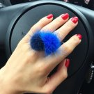 Mink Ring Fashion Boho Genuine Soft Leather fur ball Party Silver Rings for Women Gift PLS note No.