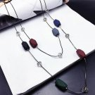Ziris Sweater Long Chain Necklace Multi Color Ceramics Resin Beads Ethnic Statment Maxi Style for Wo
