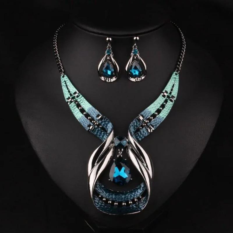 Women crystal jewelry sets with earrings statement necklace for party wedding boho fashion Trendy ne