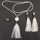 Bohemia Boho Pearl Jewelry Set Adjustable Silvery Ring Pearl Bead Tassel Dangle Earring Connector Ta