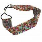 Metting Joura Multiple Sequin Beads Headband Vintage Handmade Braided Hairband Wide Elastic Headband