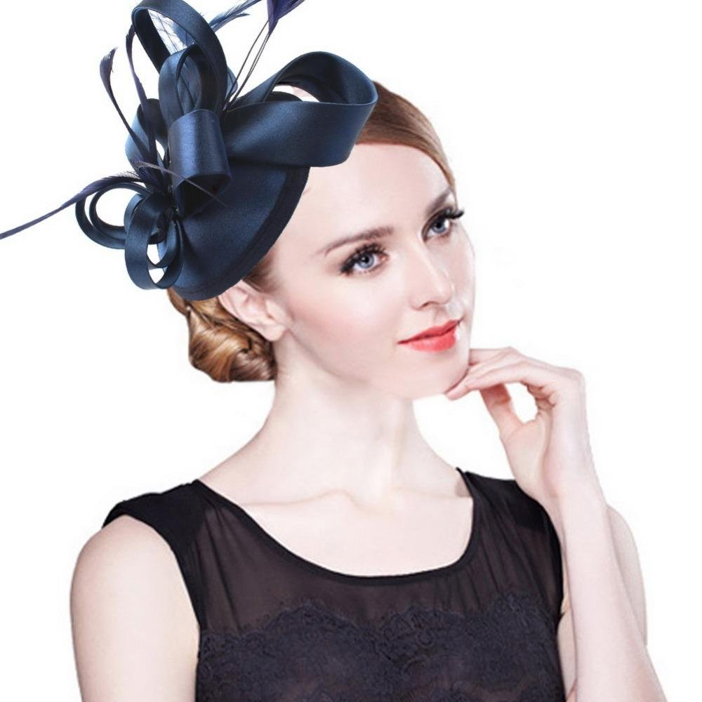Fashion Feather Satin Fascinator Hat Hair Clip Women Cocktail Wedding Party Bridal Hat Fascinator La