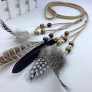 Bohemia Women Headwear Braided Hairband with Peacock Feather Vintage Hair Accessories