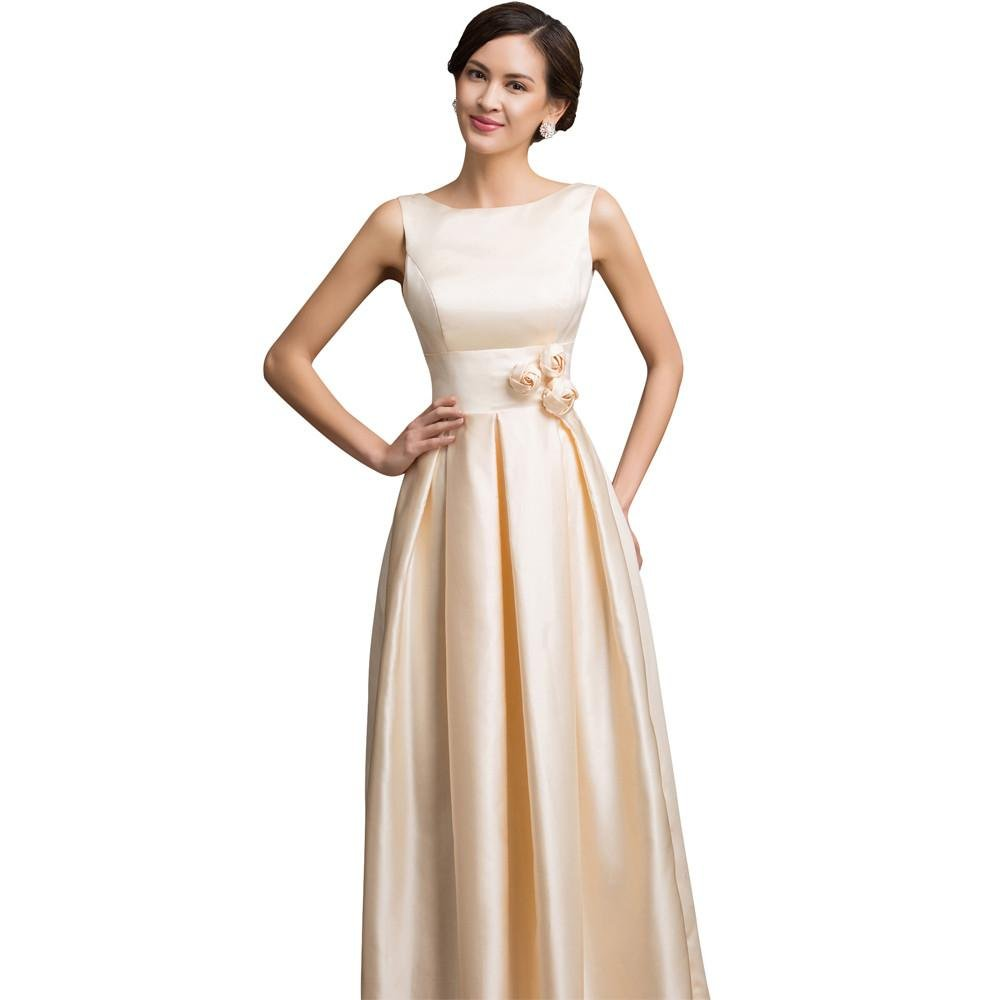 Sexy Boat Neck Champagne Flowers Elegant Evening Dresses Long 2017 New Wedding Party Dinner Formal D