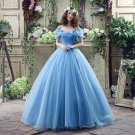 Cinderella Wedding Dress Blue Bridal Gown Off The Shoulder Cap Sleeves robe de Marry Halloween Costu