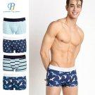 PINK HEROES Men Underwear Boxers Ocean Wind Cotton Sexy Men Boxer Underwear Striped Wave Print Mens